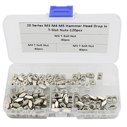 120 Pcs 2020 Series T Nuts, M3 M4 M5 T Slot Nut Hammer Head Fastener Nut for Aluminum Profile