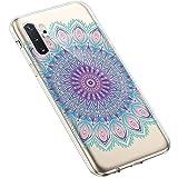 Uposao Kompatibel mit Samsung Galaxy Note 10 Plus Hülle Silikon Schutzhülle Feder Mandala Blume Muster Durchsichtig Case Klar Weiche Ultra Dünn Transparent TPU Bumper Handyhülle Kratzfeste,#9