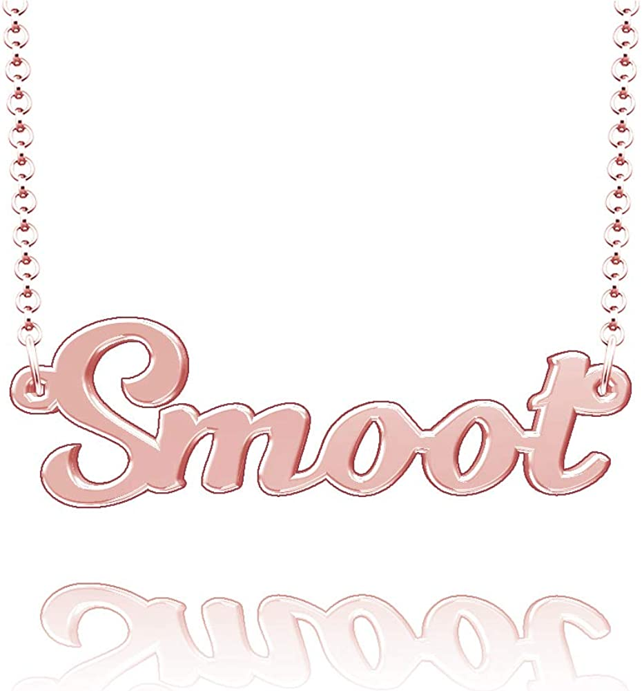 LoEnMe Jewelry Customized Smoot Name Necklace Stainless Steel Plated Custom Made of Last Name Gift for Family