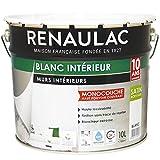 Renaulac Peinture intérieur Murs & Plafonds Monocouche Acrylique Blanc Satin 10L - 100m²