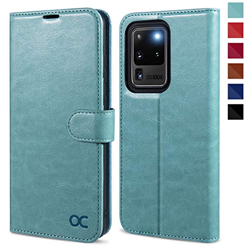 OCASE Samsung Galaxy S20 Ultra Hülle Handyhülle [Premium PU Leder] [Standfunktion] [Kartenfach] [Magnetverschluss] Tasche Cover Etui Schutzhülle lederhülle für Samsung Galxy S20 Ultra Minzgrün