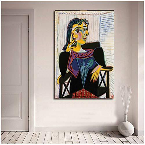 Retrato de Dora Maar por Pablo Picasso Carteles de lienzo Impresiones Arte de la pared Pintura Imagen decorativa Decoración moderna del hogar Obra de arte -60x90cm Sin marco