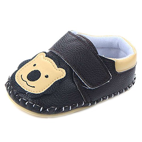 Lidiano Baby Non Slip Rubber Sole Cartoon Walking Slippers Crib Shoes Infant/Toddler (12-18 Months, Black Lion)