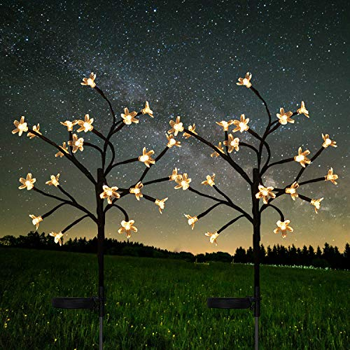 Solar Garden Lights Outdoor - 2 Pack Warm White Cherry Blossoms Flower Lights for Yard,Lawn,Pathway,Backyard,Christmas,Party