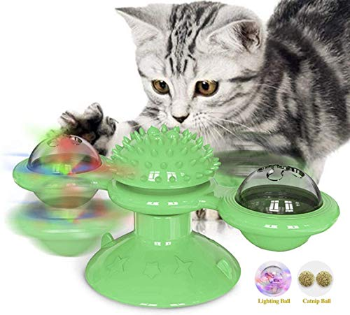Adyonline Windmill Cat Toy with Led Ball and Catnip Ball, Cat Turntable Teasing Interactive Toy, with Tooth Cleaning, Automatic Feeding, Scratcher, Molar, Improve IQ