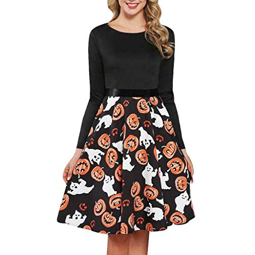 Vrouwen Vintage Pompoen Print Lange Mouw Halloween Avond Party Swing Jurk Dames O-Hals Swing Midi Cocktail Swing Jurk