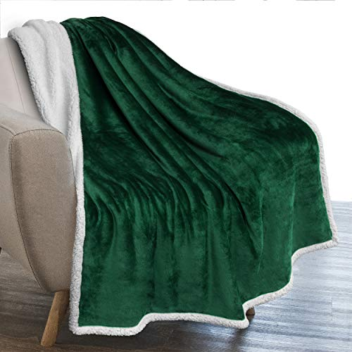 PAVILIA Plush Sherpa Blanket Throw | Soft, Warm, Fuzzy Dark Green Emerald Fleece Throw for Couch Sofa Bed | Solid Reversible Cozy Microfiber Blanket