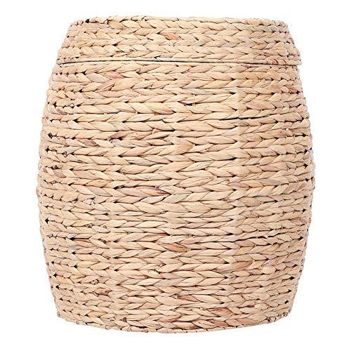 Ausla - Cesta de almacenamiento de paja trenzada a mano, con tapa, 47 x 54,5 cm