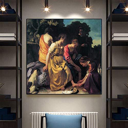 tzxdbh Fashion canvas schilderkunst Diana en hun begeleider van Vermeer olie/canvas schilderij woonkamer muurkunst decoratie schilderij 20X20 cm Met frame.