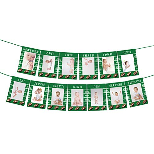 AmosfunRugby Photo Banners Football Theme st Birthday Photo Bunting Flag Monthly Milestone Photograph Garland Decoration for Baby Birthday Party Without Photo