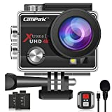 【2020 Upgrade】 Campark 4K 20MP Action Camera EIS External Microphone Remote Control WiFi Waterproof Camera with 170° Wide Angle and 2 Batteries (Renewed)