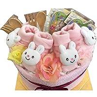 おむつケーキ 双子 出産祝い 女の子 オムツケーキ うさぎ ピンク