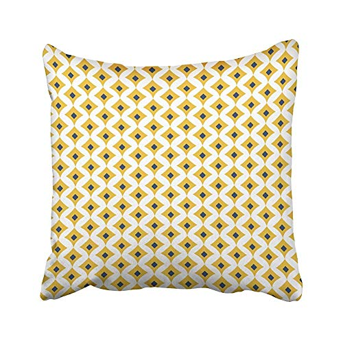 Wadestar Senf Navy White Geometric Decorative Pattern Überwurfkissenbezüge für Zuhause Indoor Friendly Comfortable Kissen Standardgröße 18x18 In