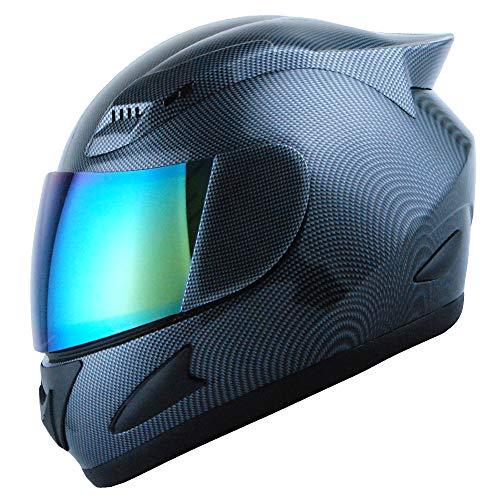 1STORM Motorcycle Bike Full FACE Helmet Mechanic Carbon Fiber Black