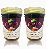 Pursito Homemade Delicious Fig Jam Spread & Preserves for Bread, Cheese, Snacking and Recipes 9 ounces Pure Vegan Natural No High Fructose Corn Syrup Pack of 2