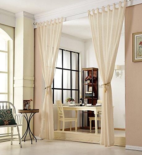 WOLTU VH5863sd-2, 2er Set Gardinen transparent mit Schlaufen Leinen Optik, Doppelpack lichtdurchlässige Vorhänge Stores Fensterschal für Wohnzimmer Kinderzimmer Schlafzimmer Küche, 140x245 cm Sand