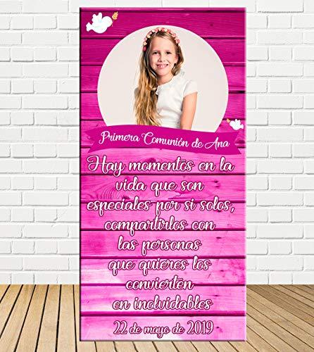 Tu Fiesta Mola Mazo Cartel de comunión de niña Efecto Madera Rosa 140x70cm|Divertido y económico|Detalle de comunión|Decorado comunión| Personalizable …