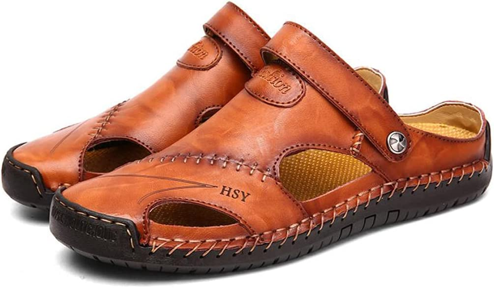 Large Size Sandals Men's Summer Leather Outdoor Beach Shoes Soft Sole European and American Baotou Sandals and Slippers Dark brown-EU40