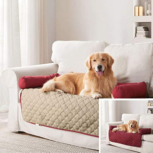 Quick fit Wubba Water Resistant Furniture, Universal Car Seat, Couch Cover, Convertible Platform Bridge Backseat Protector, and More for Dogs and Cats, 45' W x 34' L, Garnet-Natural