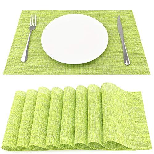SueH Design Juego de Manteles Individuales de 8 Unidades en PVC 45 * 30 CM Verde