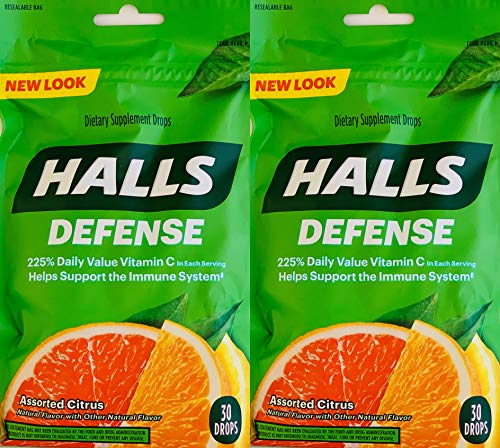 Halls Defense Vitamin C Assorted Citrus Cough Drops, 30-Count (2 Pack) (2 Pack)