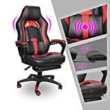 Video Gaming Chair Racing Recliner - Ergonomic Padded Armrest Swivel High Back Footrest Wide Headrest Lumbar Support Leather Breathable Bucket Cushion Office Computer for PS5 Switch(Red Massage)…