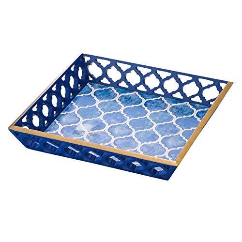Bandeja de Madeira Lyor Azul 30 x 30 cm