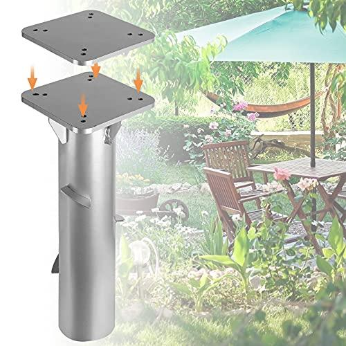 Hogralan Universal Bodenplatte mit Bodenhülse Sonnenschirm - Bodenanker Ampelschirm zum Einbetonieren, aus Edelstahl - 16x16cm, einfache Montage