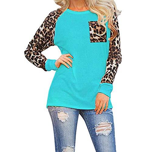 OMSJ Women's Casual Tops Long Sleeve Leopard Pocket Color Block Plus Size T-Shirt (Green, XXL)