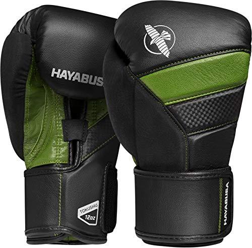Hayabusa T3, guantoni da boxe, Unisex - Adulto, nero/verde., 10 Ounce