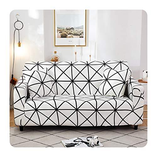 ZaHome Funda de sofá antipolvo con estampado a cuadros, de algodón, para oficina, SSB-4 asientos, 235-300 cm