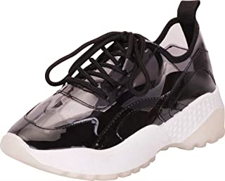 Cambridge Select Women's Retro 90s Ugly Dad Transparent See Through Lace-Up Chunky Platform Fashion Sneaker
