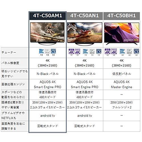 『シャープ SHARP 50V型 4K対応 液晶 テレビ AQUOS N-Blackパネル HDR対応 4T-C50AM1』の2枚目の画像