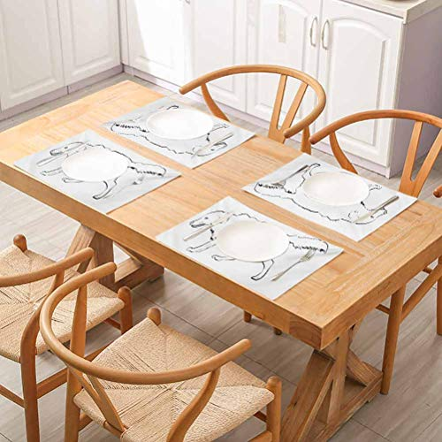 FloraGrantnan Washable Non-Slip Heat Resistant Kitchen Table Mats, Golden Retriever Sketch Art Outline of a Dog THO, Kitchen Table Mats Easy to Clean, Set of 4