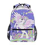 Mochila escolar Ahomy para adolescentes y niñas, con diseño de unicornio en un corazón arco iris, mochila de viaje, mochila de senderismo para mujeres y hombres