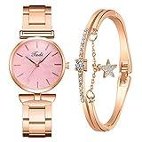 Star Women Quartz Analog Wrist Small Watch Luxury Casual Bracelet Watches 2pc/Sets Fancy Gifts Ideas (C)
