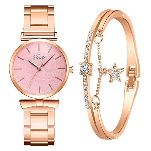 Geilisungren Damen Mode Exquisite Legierung Quarz Uhr + Armband, Mädchen Quarz Analog Handgelenk Kleine Uhr Strass Armband Uhren Geschenk