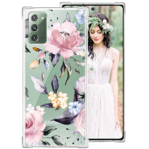 iDLike Galaxy Note 20 Case for Women Girls, Clear Floral Flower Cute Design Hard Plastic Back + Soft TPU Bumper Protective Shockproof Phone Case Cover for Galaxy Note 20 6.7',Pink-Penoy
