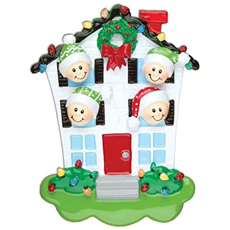 Grantwood Technology Personalized Christmas Ornaments Family Series- House Family of 4