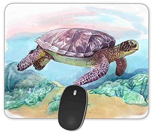 Watercolor Sea Turtle Rectangle Mouse Pad,Anti Slip Rubber Rectangle Mousepads Desktops Gaming Mouse Mat Customized Designed for Home and Office,9.45 x 7.9inches