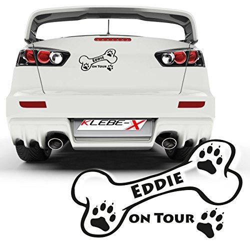 Hundeknochen mit Wunschname als autoaufkleber Sticker Heck Namensaufkleber Hund |025V50