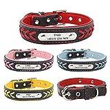 Gredstar Halsband Hund Personalisierte Hundehalsbänder mit D-Ring Leder Hundehalsband Namensschild