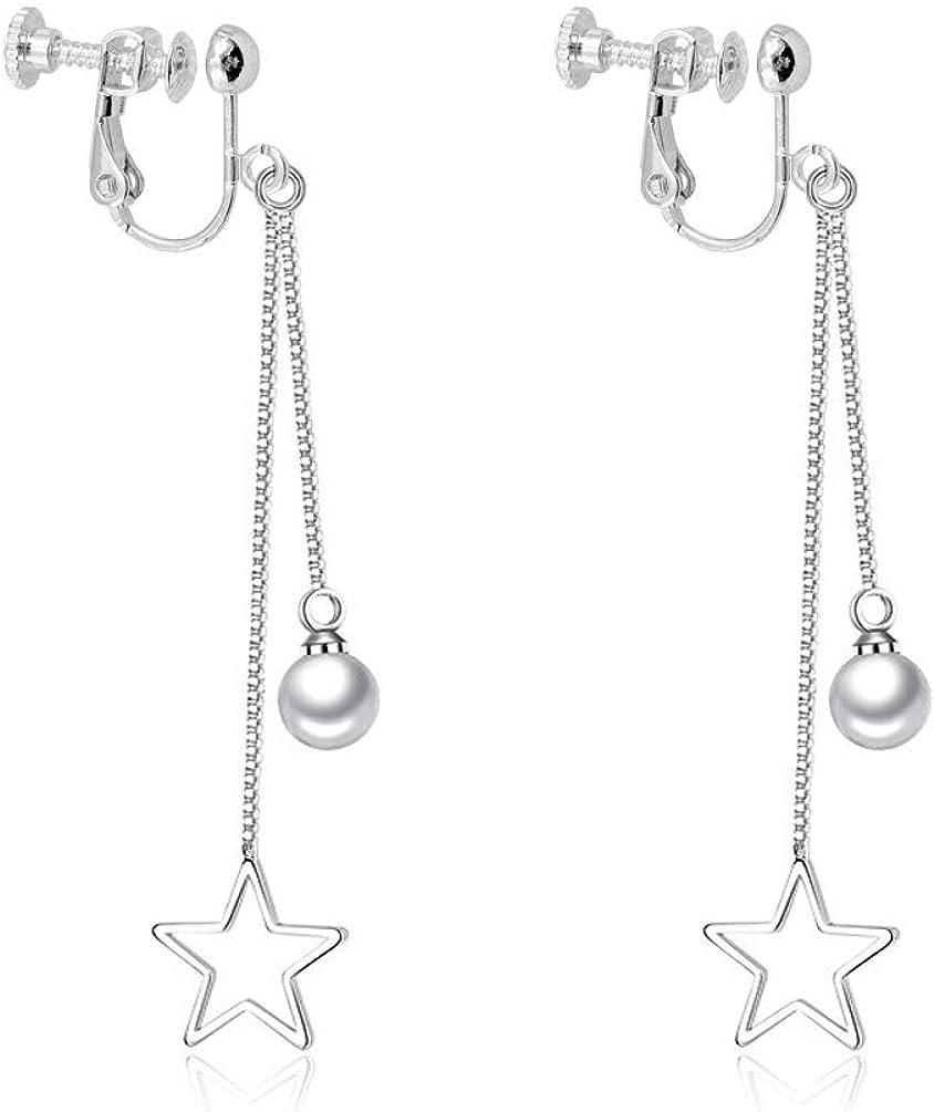 Simulated Pearl Star Tassel Dangling Clip on Earrings no Pierced Women Girl Rhodium Plated Lightweight