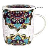 Taza con infusor de té en caja de regalo, diseño de mandala