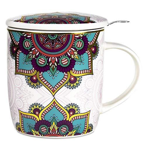 Taza con infusor de té, diseño de mandala