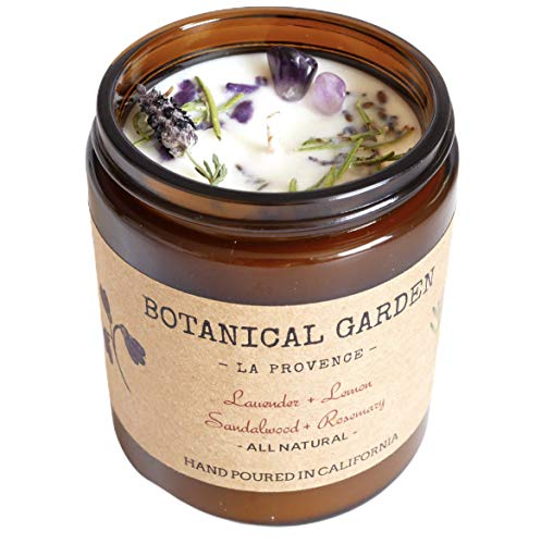 Organic Lavender Rosemary Sandalwood Aromatherapy Soy Candle - ALL NATURAL - 100% Essential Oil - Organic Dry Flowers - Gifts for Him or Her - Home Decor - Long Lasting 9oz