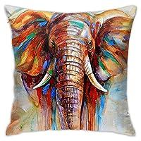 枕カバー 防ダニ Colorful Elephant カラフルな象 ピローケース 睡眠クッションカバー まくらカバー 隠れジッパー 用ソファリビングルーム