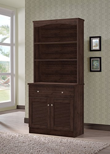 Wholesale Interiors Agni Buffet and Hutch Kitchen Cabinet, Dark Brown