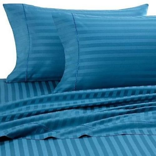Confort Phalanges Lit 4 Pièces Parure de lit King Size 100% Coton égyptien à Rayures, Bleu Turquoise, Taille King Size Britannique