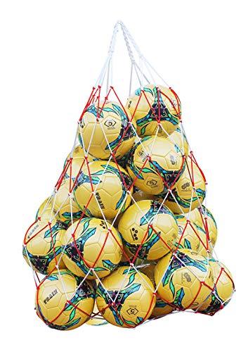 Moonlove 15-20 - Bolsa de malla para balones de fútbol, baloncesto, voleibol, fútbol, bolsa de transporte con correa, Red and White Net Bag